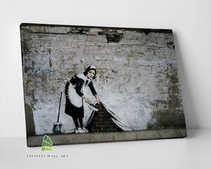 BANKSY Sweeping Maid Graffiti Canvas Art Wall Art Print Picture Canvas -C824
