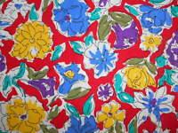 VTG Retro Cotton Line Drawing FLOWER Floral  Print Primary Colors + Purple 1YD+