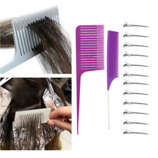 2Pcs Professional Weaving Hair Comb Tail Comb with Styling Hairclips Salon