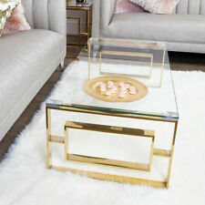 Plaza Gold Contemporary Clear Glass Lounge Living Room Coffee Table