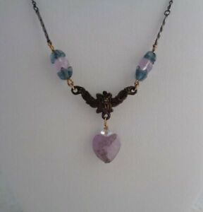 Antique Amethyst Heart Necklace - Vintage Sterling Silver Crystal Necklace