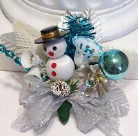 Vintage Christmas Corsage Mercury Glass SNOWMAN Blue Mercury Glass  package tie