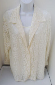 ALLISON DALEY SOLID IVORY LACE POLYESTER EVENING LONG SLEEVE SHIRT BLOUSE M NEW