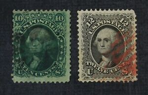 CKStamps: US Stamps Collection Scott#68 69 Washington Used #69 Spot Thin