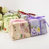 New Candy Boxes Floral Ribbon Sweet Chocolate Box Wedding Party Favors Bags 20PC
