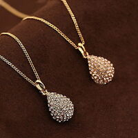 Women Fashion Gold Silver Plated Crystal Pendant Long Chain Statement Necklace #