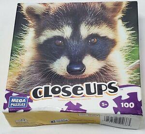 Close-Ups Mega 100 Piece Puzzle Masked Friend 2011 NIB 5+ Factory Sealed Raccoon