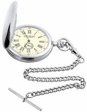 Pocket Watch Classic Hunter Style Roman Numerals Albert Chain Leather Case Gift