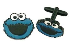 Cookie Monster Character Face Metal Enamel Cuff Links