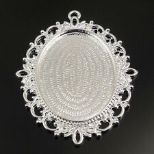 6pcs Silver Tone Alloy Lace Cameo Setting Inner:40*30mm Pendant Hot 31307