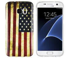 TPU Case für Samsung Galaxy S7 Schutzhülle Tasche Cover USA Amerika Flagge retro