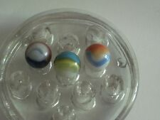 "3 Akro Agate Multi Color Popeye or Tiger Eye Marbles glass 5/8"" Near Mint"