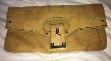 L.A.M.B Large Mustard Yellow Leather CARLISLE Foldover Clutch Purse Bag-NICE