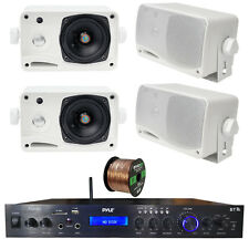 Home Amplified Bluetooth MP3 Receiver, 4x 3.5'' White Speaker, 16-G 50 Ft Wire
