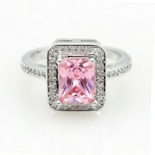 Pink Princess Cut Ring with Lab-Created Stones Silver Color, US 7.5 EUR 56