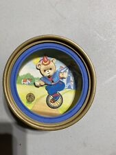 Rare 1970s Vintage Small Bear Riding A Unicycle Music Box. Plays Zip A De Do Da