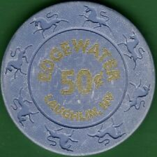 50¢ Casino Chip. Edgewater, Laughlin, NV. Lighter Blue. K38.