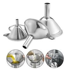 3 pcs/set Mini Stainless Steel Funnel Small Metal Portable Funnels Nice Tool