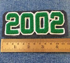 Chenille Patch Class 2002 Green Black VTG Varsity Letterman Jacket Sew On