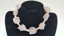 Langer 925 Silver Clasp Rose Quartz White Pearl String Necklace