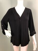 NWT Womens Marc New York Andrew Marc Black Roll Tab Sleeve V Neck Top Sz L Large