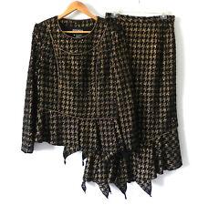 Terramona Skirt Suit Black/Gold Sequin Trim Asymmetrical Size 8/10