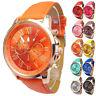 2015 Damen Geneva Uhr Numerals Faux Leder Armbanduhr Analog Quartz Wrist Watch