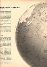 1942 WWII Printed Map/Globe Asia China USSR Pacific Ocean Mongolia Navy Bases