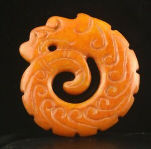 Old China natural jade hand-carved statue dragon hong shan culture pendant