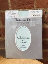 BNWOT Christian Dior Dark Jade Blue Green Spot Design Stockings One Size