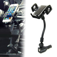 Dual USB Car Cigarette Lighter Mobile Phone Stand Mount Holder Charger Universal