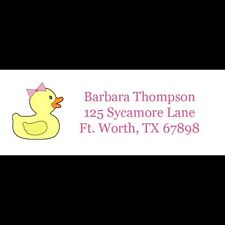 30 Personalized Return Address Labels - Pink Rubber Ducky
