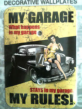 classic MY GARAGE - MY RULES -  retro METAL  powder finished SWITCH PLATE