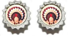 THANKSGIVING TURKEY MINI BOTTLE CAP CUFF LINKS (CAP008f)