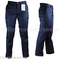 Ladies Womens Work Wear Trousers Cargo Combat Action Black Navy Reg Leg UK Size