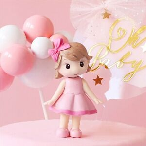 Pink Girls Bow little Princess Happy Birthday Cake Topper Kid Party Supplies