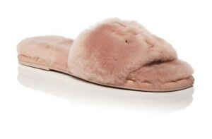 NIB TORY BURCH Women's Double T Fluffy Slippers, size 7.5, Shell Pink