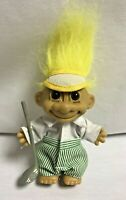"Troll Russ 4"" Vintage Golfer With Yellow Hair With Golf Club And Visor"