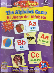 Master Pieces The Alphabet Game English & Spanish Includes 2- 28 Pc Puzzles NIB