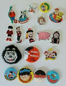 18 Beano and Dandy Badges 1980s 1990s