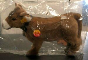 "Steiff ""Bertha"" Cow 072925 - 32cm - Leather Collar w/Brass Bell - New in Plastic"