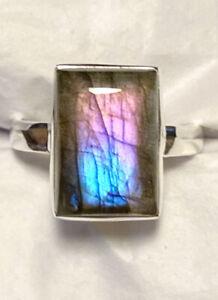 Gorgeous Purple Multi Color Flash Labradorite Ring 925 Sterling Silver Size 8.5