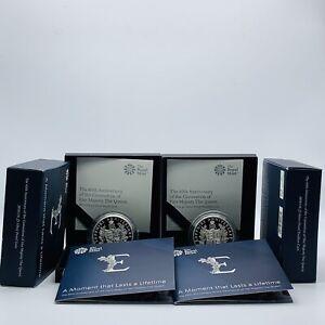 2018 Royal Mint Queen's Sapphire Coronation Silver Proof & Piedfort £5 Coin Set