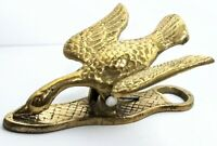 VINTAGE MCM SOLID BRASS DUCK GOOSE PAPER MEMO CLIP HANGING HOLDER PAPERWEIGHT