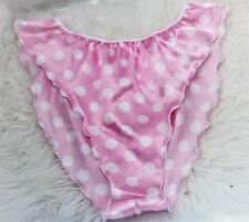 VTG style polka Dot PINK Satin SHiny ladies high cut flutter panties Slip OS