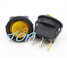 5Pcs Mini 3 Pin Round Yellow SPST ON-OFF Rocker Switch Snap-in