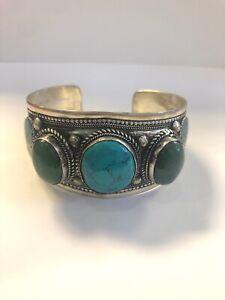 Boutique Fashion Turquoise Bracelet Pewter Adjustable Cuff Handmade Nepal B24