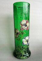 beau Vase émaillé  legras riche décor d' anémones bicolores
