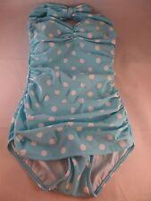 NWOT Esther Williams Beach Blanket Bingo Teal White 1pc Swimsuit sz 6