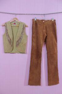 VTG 90s Maxima Suede Leather Hip Hugger Flare Pants 0 XS + Suede Fringe Vest S/M